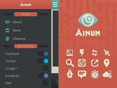 Ainun App 01 flat ui ainun eye side menu menu weather store ramadhan islam muslim
