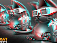 3D Cat Anaglyph B/W