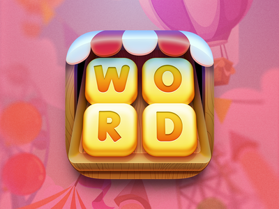 WordConnect Party Game Icon photoshop illustration valentine pink puzzle carnival connect word ios icon game