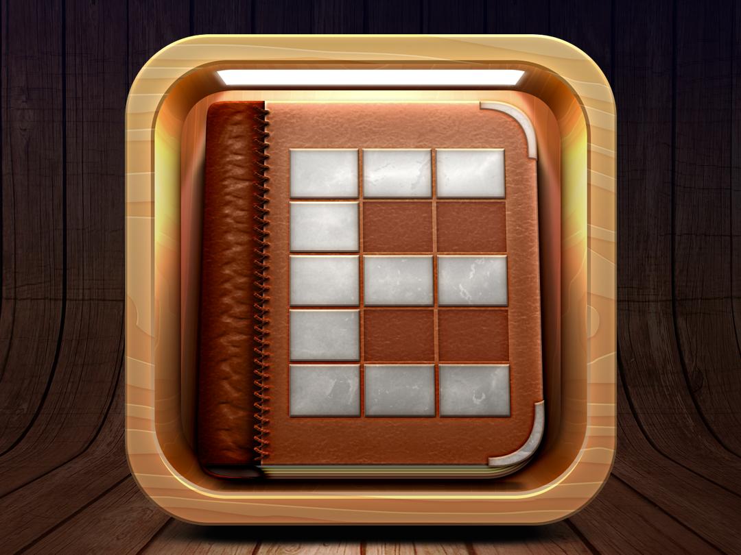 iOS Bookshelf App Icon old book room wood block box wood book book icon icon app ios icon icon app ios
