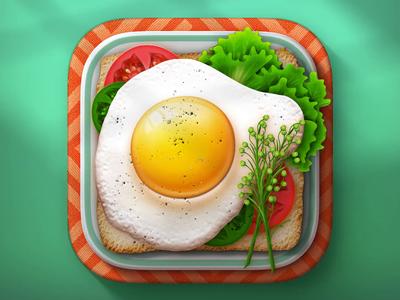 Food App iOS Icon Process food pepper tomato lettuce breakfast egg sandwich app icon ios bread vegetable weirdsgn gamedsgn