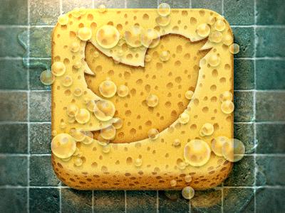 Tweet Cleaner App Icon icon ios iphone social tweet twitter sponge floor weird