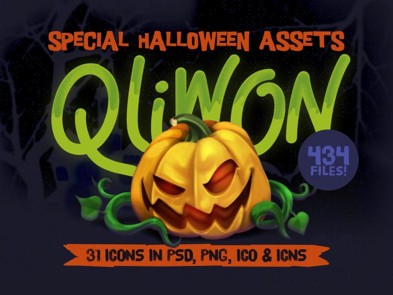 QLIWON – Halloween Icon Set halloween2019 illustration twitch sticker download freebie spooky creepy zombie pumpkin halloween icon set icon