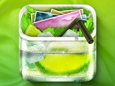 iOS Photonic Mojito Icon Design ice green fresh realistic glass skeuomorph app icon ios icon icon drink mojito