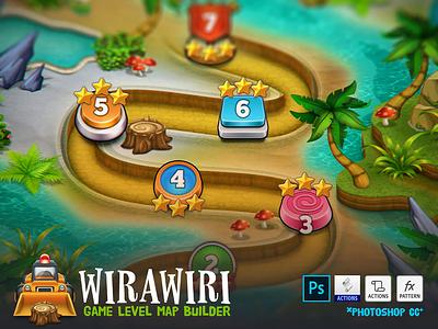 WIRAWIRI – Game Level Map Builder platformer terrain freebie actions psd assets level development gamedev photoshop generator builder map game