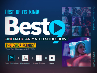BEST9 Cinematic Animated Slideshow (Photoshop Actions) banner marketing portfolio moment 2019 cinematic slideshow animation actions photoshop template story instagram bestnine2019 bestnine best9