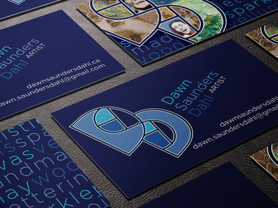 Dawn Saunders Dahl Branding and Cards business card branding logo blue