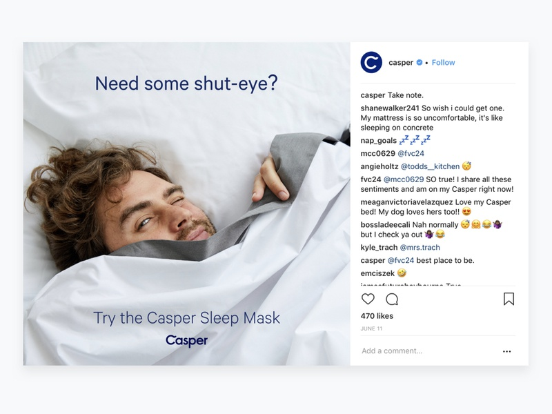 Casper Sleep Mask social media design