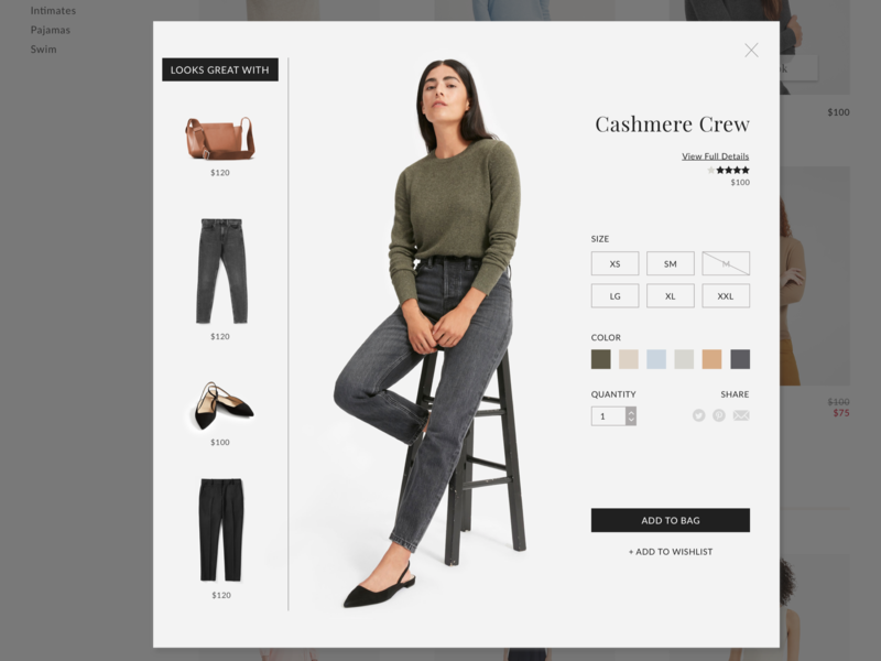 Quick Look view from clothing store design sketch ecommerce ui design