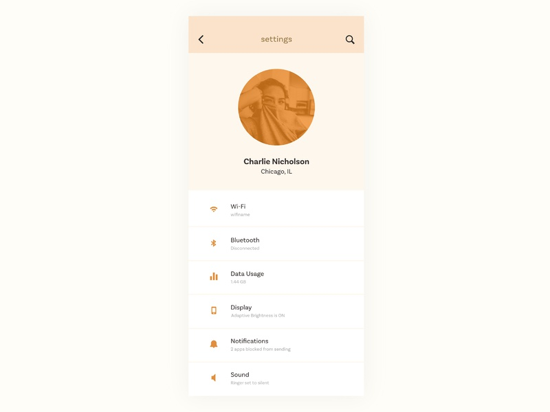 007 - Settings mobile digital dailyui ui design