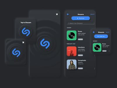 Shazam redesign in neomorpic style apple watch apple design redesign concept app designer ios shazam ui  ux 2020 design app figma app design neumorphism ui dribbble design neumorphic