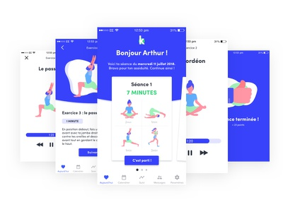 Kinéo - Exercise part UX UI exercise blue illustration ux ui interface health application app animation