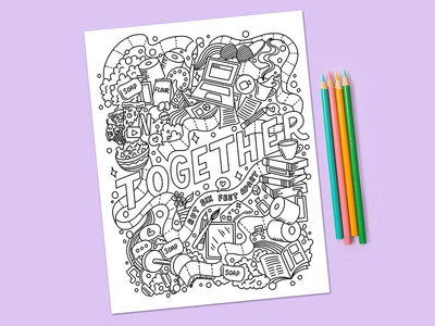 Free social distancing coloring page linework coloring coloring page coloring book food illustration procreate illustration food typography hand lettering lettering quarantine social distancing