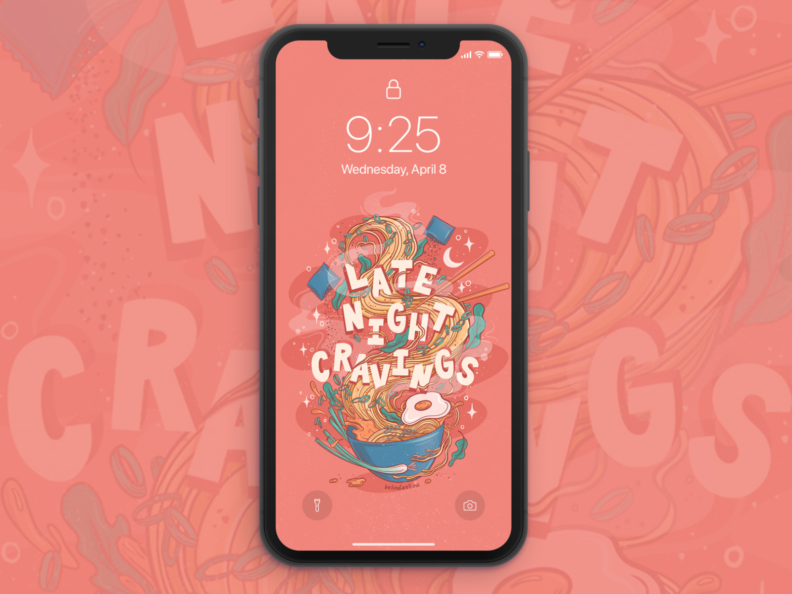 Late Night Cravings Ramen Free Phone Wallpaper By Belinda Kou On