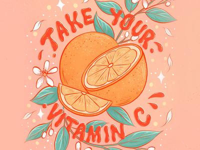 Vitamin C Lettering adobe fresco adobe vitamin c orange oranges food illustration illustration letters food type food lettering typography hand lettering lettering
