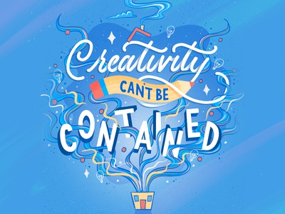 Creativity Can't Be Contained Lettering adobe adobe fresco illustration letters pencil blue creativity typography lettering hand lettering