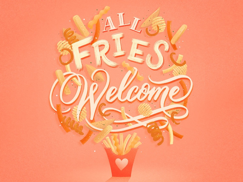 All fries welcome digital food lettering digital art fries food illustration food type letters procreate illustration food lettering food typography hand lettering lettering