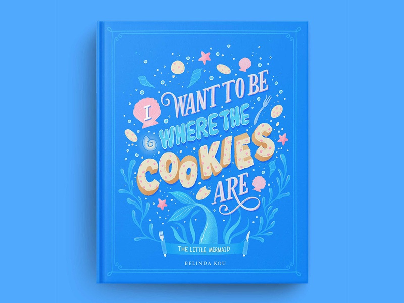 The Little Mermaid of Hungrily Ever After Book Cover Art book cover mockup blue books book cover art book cover fairy tales fairy tale the little mermaid food illustration food type letters food lettering procreate illustration food typography hand lettering lettering