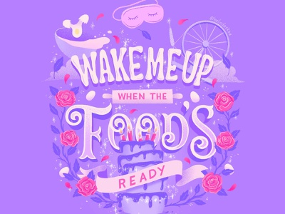 Hungrily Ever After: Sleeping Beauty Lettering book cover art digital illustration disney princess disney art sleeping beauty editorial illustration fairy tale fairytales fairytale food illustration food type letters food lettering procreate illustration food typography hand lettering lettering