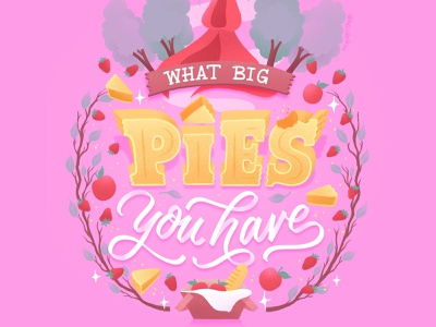 Hungrily Ever After: Little Red Riding Hood Lettering pink illustration brothers grimm fairy tale art fairy tales fairy tale little red riding hood pie food illustration food type letters food lettering procreate illustration food typography hand lettering lettering