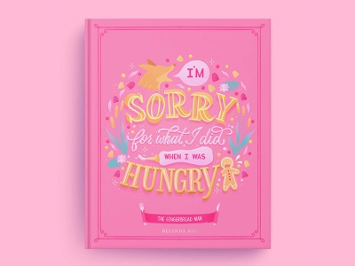 Hungrily Ever After: The Gingerbread Man Book Cover Art book cover design book cover art book covers book cover food illustration food type letters food lettering procreate illustration food typography hand lettering lettering