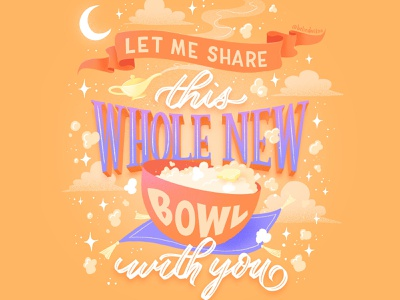 Hungrily Ever After: Aladdin Lettering arabian nights a whole new world aladdin fairy tale fairy tale art fairy tales book cover art illustration procreate letters food lettering food type food illustration typography hand lettering lettering