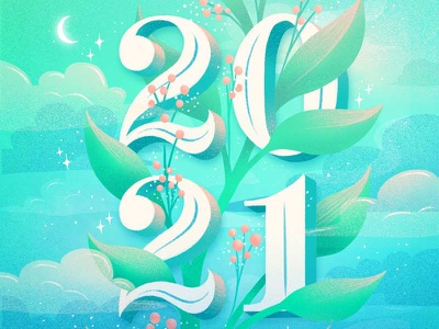 2021 lettering artist green foliage happy new year new year 2021 type letters procreate typography hand lettering lettering lettering art