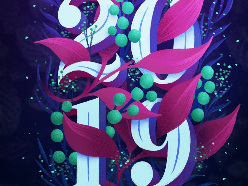 2019 2019 happy new year new year winter florals leaves hand lettering lettering