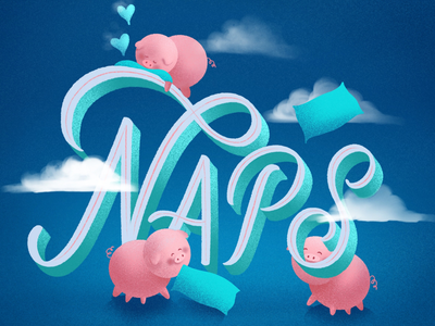 Naps typography hand lettering lettering pigs pig naps napping nap