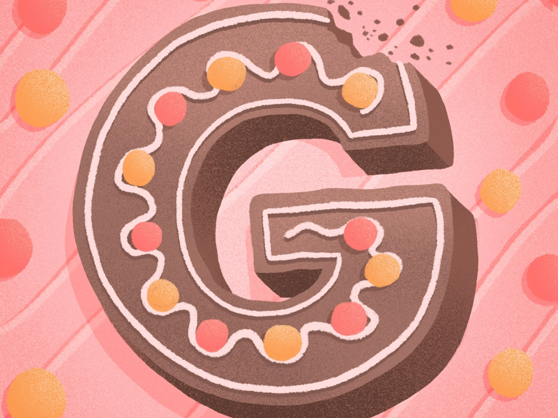 36 days of sweet type — G food lettering food type gingerbread dessert alphabet typography type hand lettering lettering