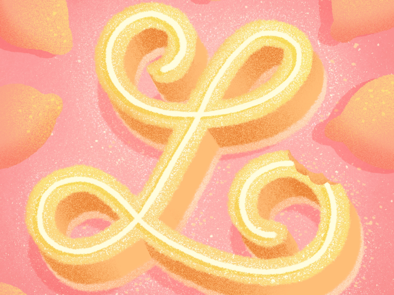 36 days of sweet type — L pink lemon bar lemon dessert procreate alphabet food lettering food type letters food typography hand lettering lettering