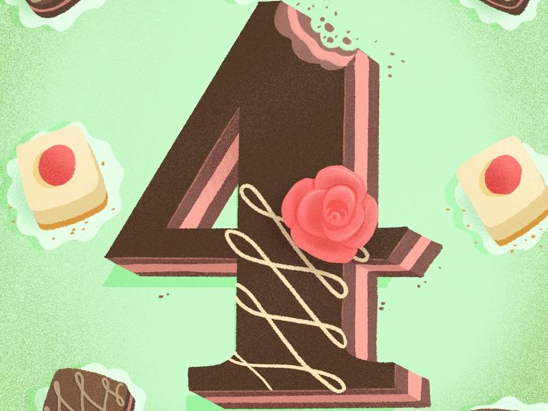 36 days of sweet type — 4 petit four cake illustration dessert alphabet procreate dessert food lettering alphabet food type letters food typography hand lettering lettering
