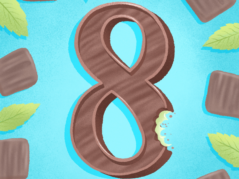 36 days of sweet type — 8 thin mint chocolate mint mint eight number numbers chocolate illustration dessert alphabet procreate dessert food lettering alphabet food type letters food typography hand lettering lettering