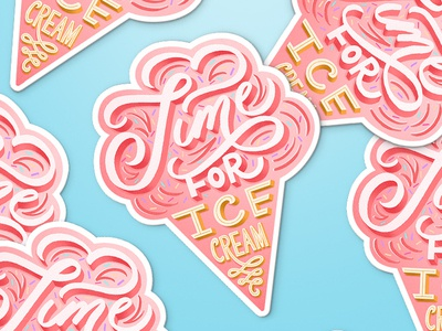 Time for Ice Cream pink illustration stickers sticker scripts food typography ice cream lettering ice cream sticker ice cream script lettering food lettering food type