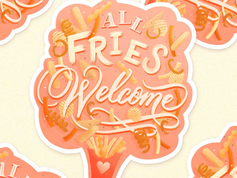 All Fries Welcome Sticker illustration coral food illustration food lettering hand lettering lettering fries sticker potato