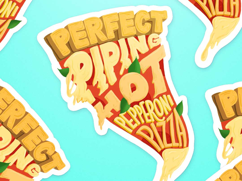 Pizza stickers sticker design stickers sticker food illustration food lettering food type hand lettering pizza