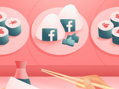 Choose what you consume: Facebook onigiri red sushi art socialmedia facebook onigiri sushi roll sushi food art food illustration illustration food