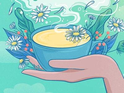 Chamomile Tea Cup steam hand tea cup food illustration green flowers tea illustration tea illustration procreate food