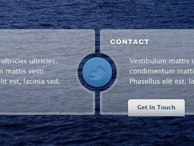 Another personal site design... twitter contact box button link pattern texture water blue white