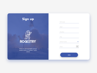 Sign up Rocketry #DailyUI