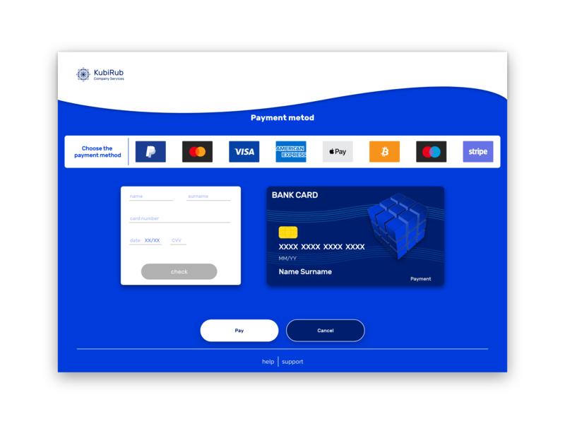 KubiRub Company Service Payment page UI #DailyUI payment material ux design design web material design ux uiux ui dailui