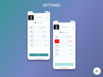 Settings page on the App #DailyUI007 #DailyUI