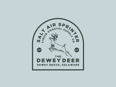 Dewey Deer Retro Badge Design