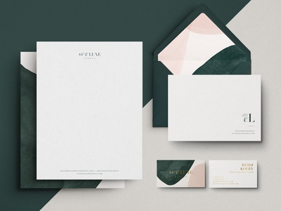 Stationery for 44th & Luxe feminine watercolor abstract wedding elegant emerald gold foil notecard letterhead business card brand assets illustration stationery brand identity logo