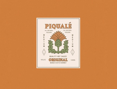 Piqualé Hot Sauce Logo label packagedesign faded rust orange artwork art typography packaging hot sauce mexico distressed thistle southwest rustic vintage illustration brand identity logo