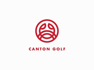 Canton Golf red logo animal logo crab logo brand identity logo