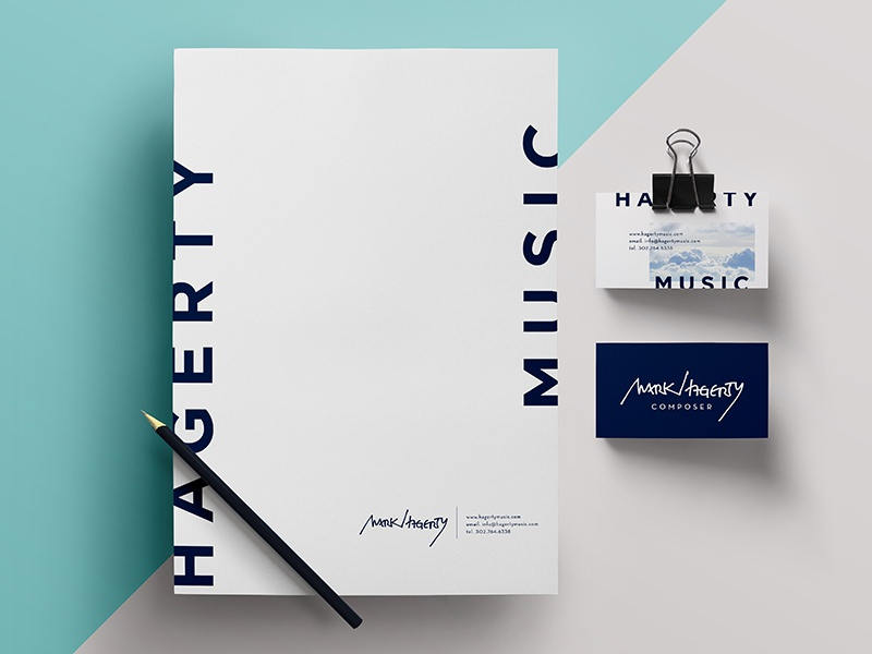 Stationery for Composer Mark Hagerty business card stationery logo blue modern