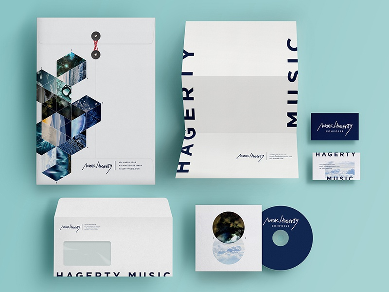 Complete Stationery Suite for Mark Hagerty blue music stationery letterhead logo musician composer