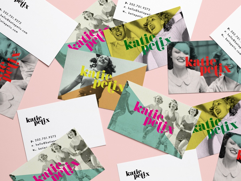 Katie Petix Social Media Business Cards bold color color block print and pattern neon pop art bold retro busines card