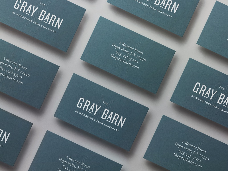 Gray Barn Business Card Design rustic gray blue embossed business card logo modern